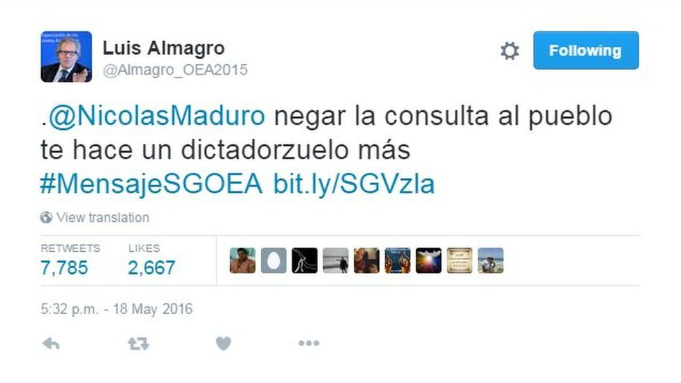 """A tweet by Mr Almagro which reads: """"@NicolasMaduro to deny the referendum to the people makes you just another petty dictator"""""""