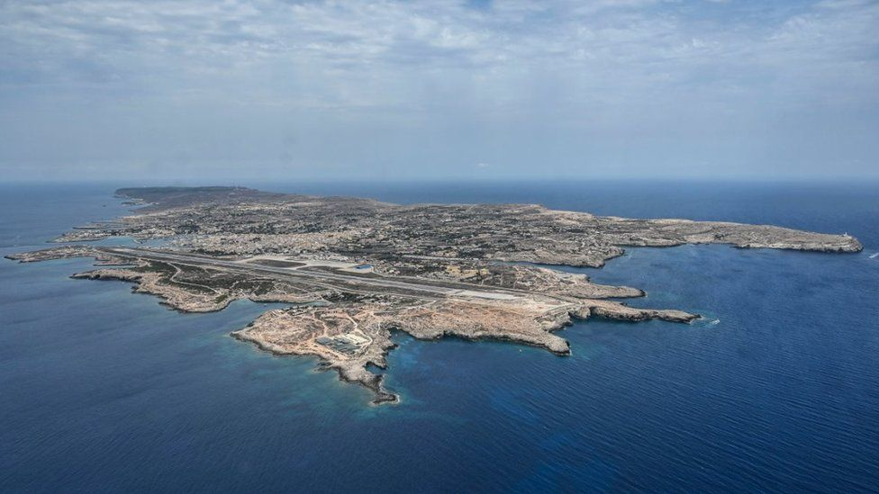 Aerial view of the island of Lampedusa on August 04, 2020 in Lampedusa, Italy
