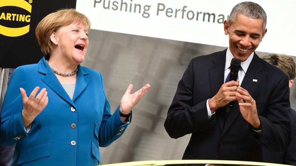 Chancellor Angela Merkel with President Barack Obama in Hanover in April 2016