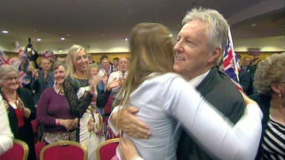 Peter Robinson was hugged and cheered by DUP members as he delivered his final leader's speech