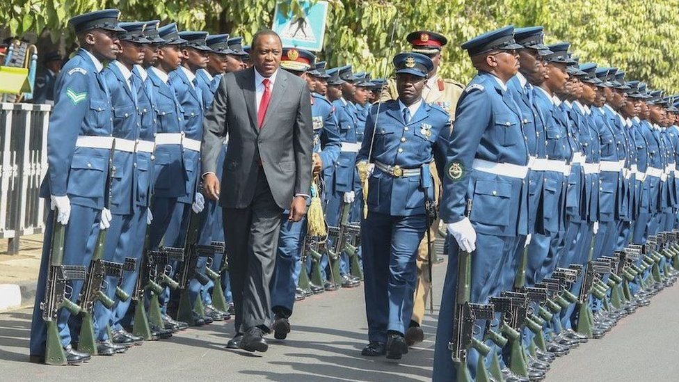 Kenya's President Uhuru Kenyatta arriving at parliament - Thursday 31 March 2016