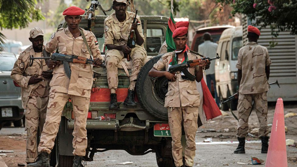 Members of Sudan's Rapid Support Forces (RSF) paramilitaries stand guard in the capital Khartoum - 16 June 2019