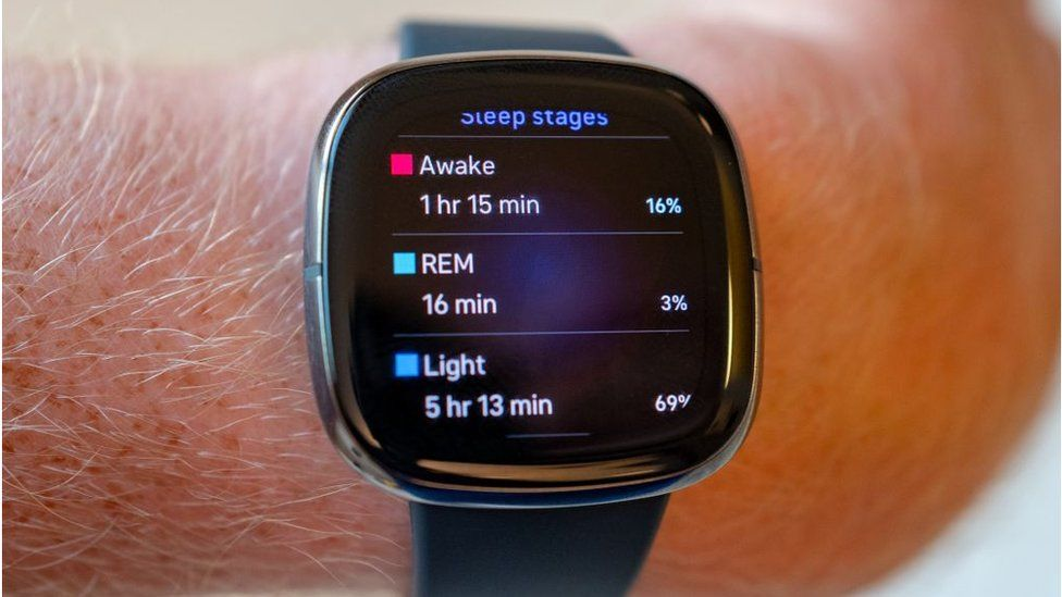 Sleep tracking functions on Fitbit Sense health tracking smart watch wearable device.