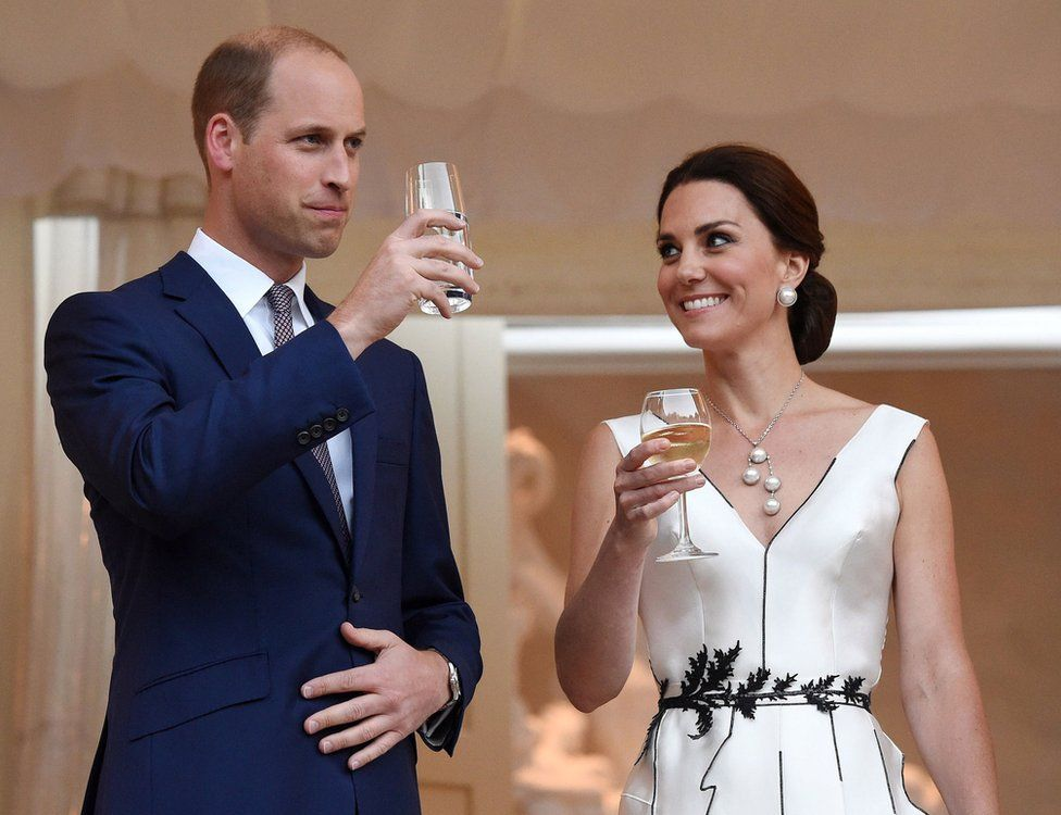 William and Catherine at the garden party