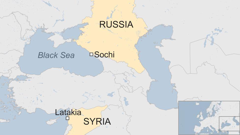 Map showing Sochi in Russia