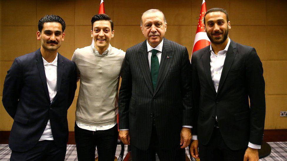 Premier League stars with Mr Erdogan in London