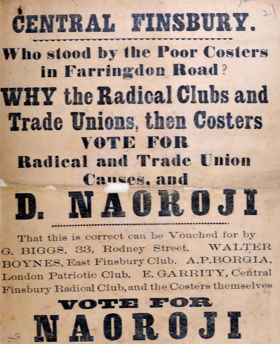 """Central Finsbury flier states Naoroji's support for trade unions and """"costers,"""" British street hawkers selling vegetables and fruits, who faced eviction from streets in Naoroji's constituency."""