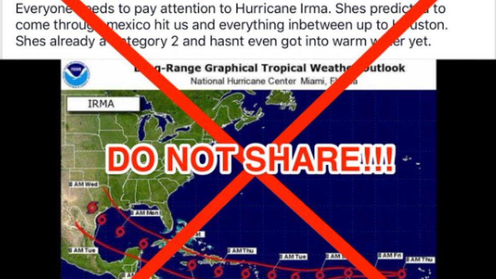 Graphic warning people not to share misinformation regarding Hurricane Irma