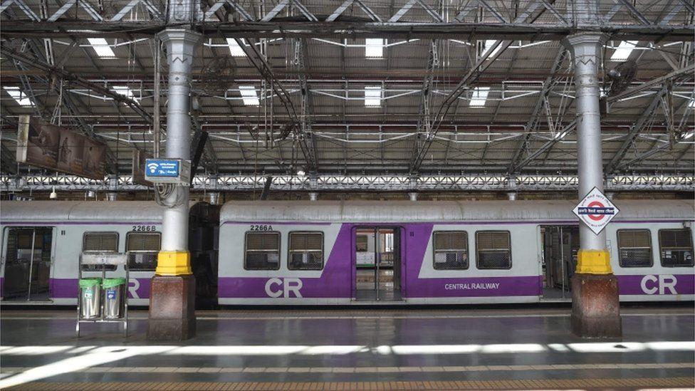 A deserted view of Chhatrapati Shivaji Maharaj railway terminus in Mumbai