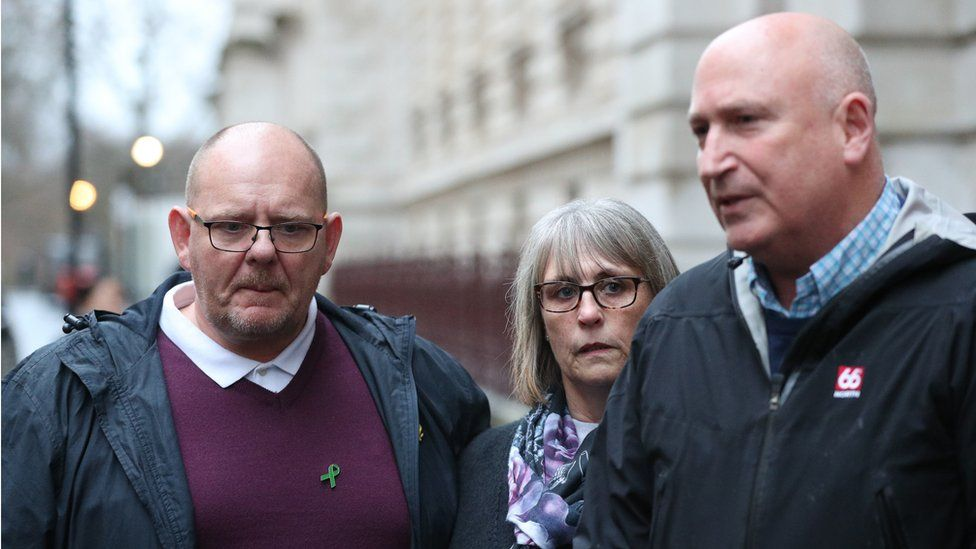 Harry Dunn's father Tim Dunn, his stepmother Tracey Dunn and family spokesman Radd Seiger
