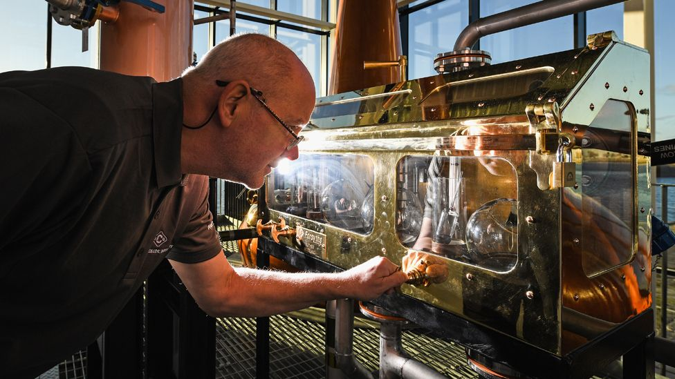 Senior distillery operator Neil Carlton at the Clydeside Distillery
