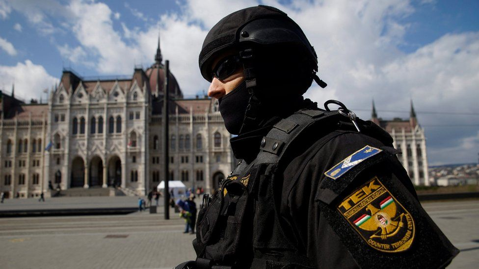 A member of the Counter Terrorism Centre (TEK) patrols in Budapest