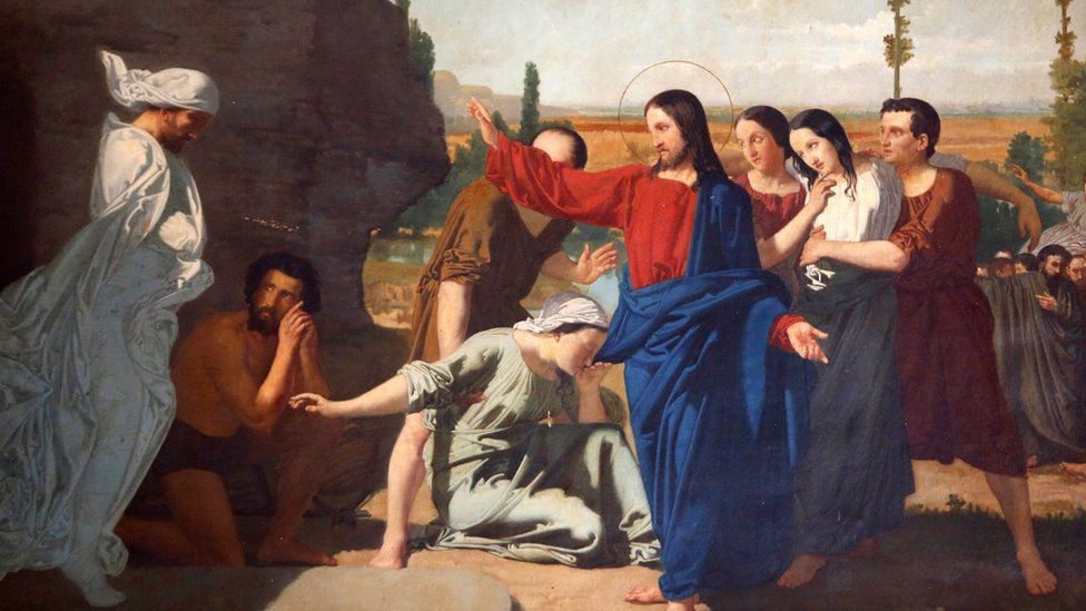 Painting in the Mosque Cathedral of Cordoba, also called the Mezquita Jesus resurrecting Lazarus.