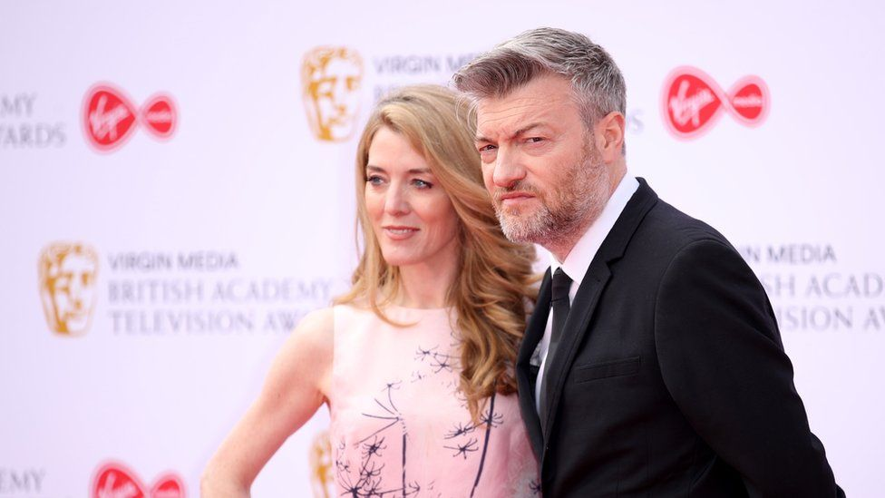 Charlie Brooker (right) and his Black Mirror co-writer Annabel Jones. Photo: 12 May 2019
