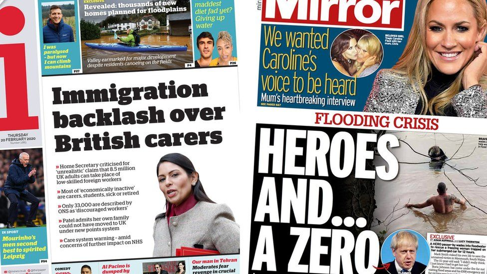 The i newspaper and the Mirror