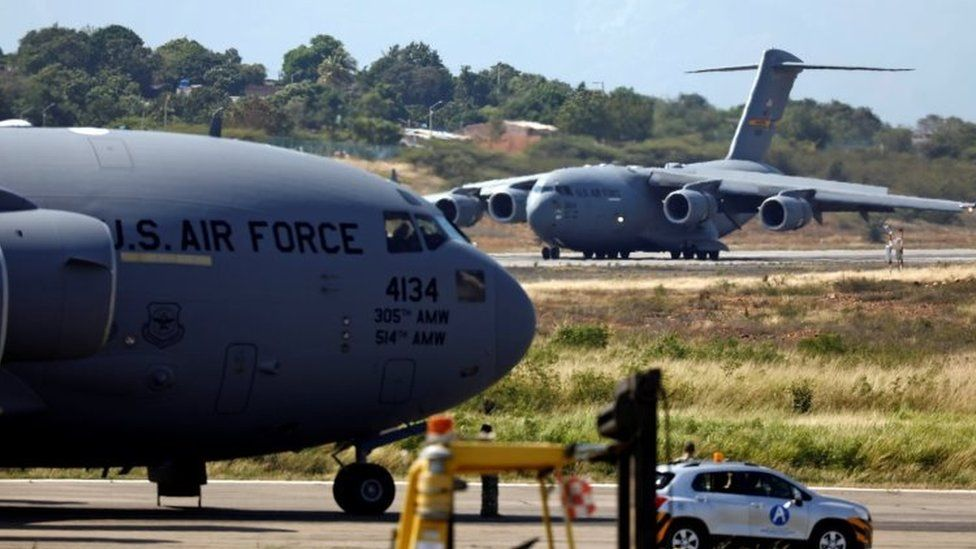 Humanitarian aid for Venezuela is inspected after being unloaded from a U.S. Air Force plane at Camilo Daza Airport in Cucuta, Colombia February 16, 2019