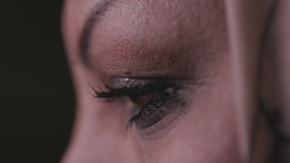 A close-up of a woman's face