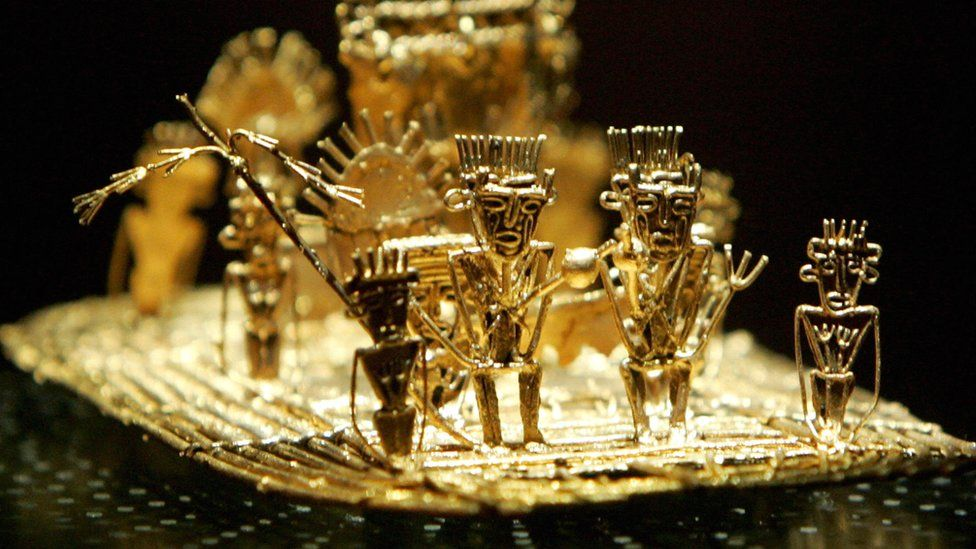 The pre-Columbian golden artwork known as the Muisca Raft in Bogota's Gold Museum, representing the Muisca culture's El Dorado ceremony.