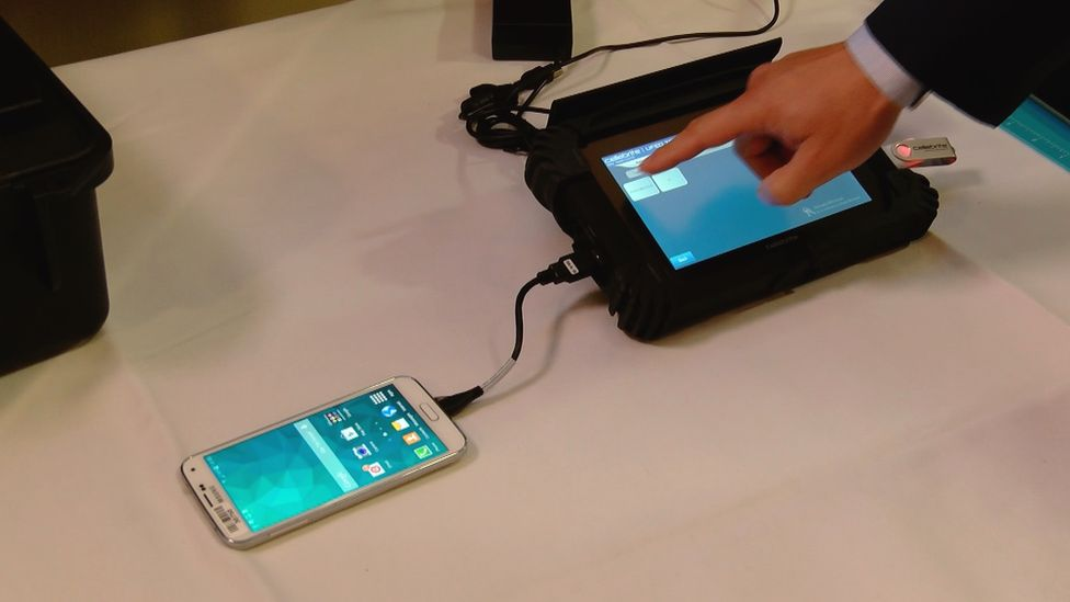 Samsung phone connected to a computer