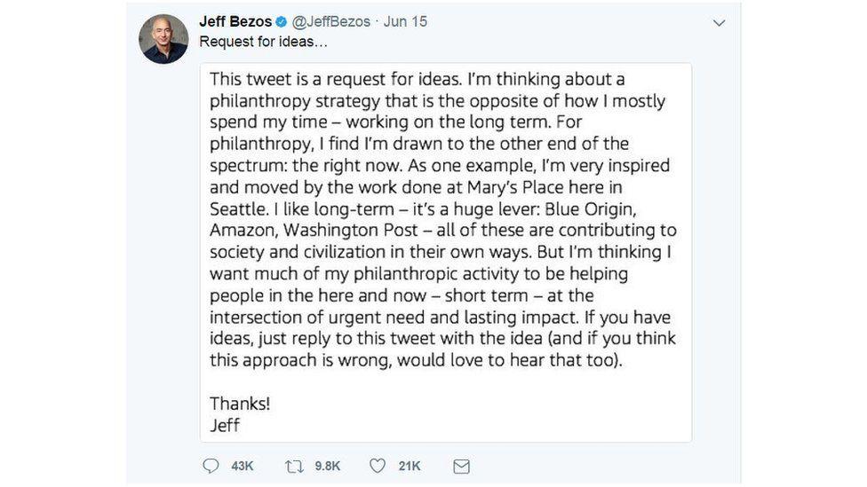 Jeff Bezos' philanthropy tweet