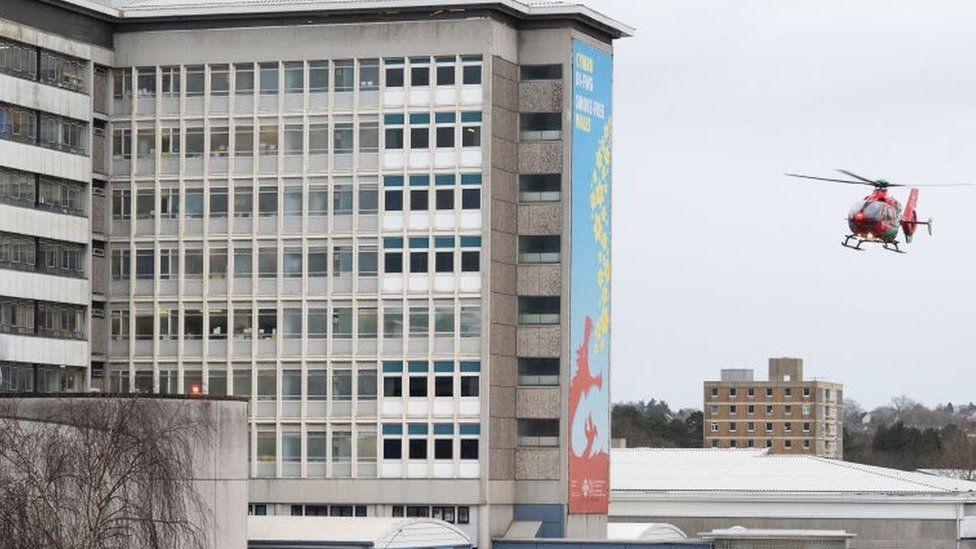 Air ambulance lands at University Hospital of Wales, Cardiff