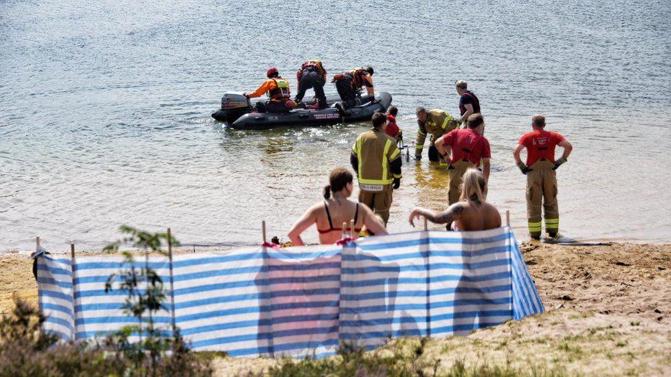 Emergency crews at Bawsey Pits