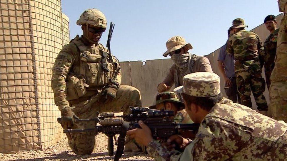 US troops train Afghan soldiers in Helmand, Afghanistan. Photo: July 2016