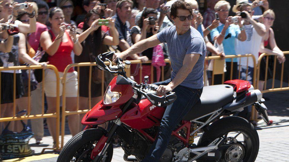 Tom Cruise on a motorbike