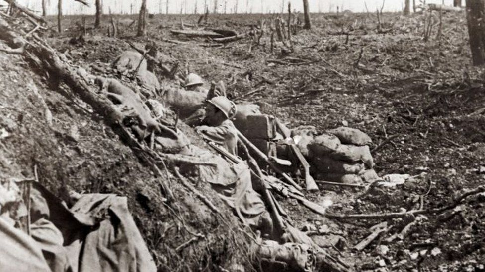 """An undated archive picture shows a French soldier standing in the """"Ravin de la Mort"""" (Ravine of the Dead) near the Fort de Vaux, near Verdun"""