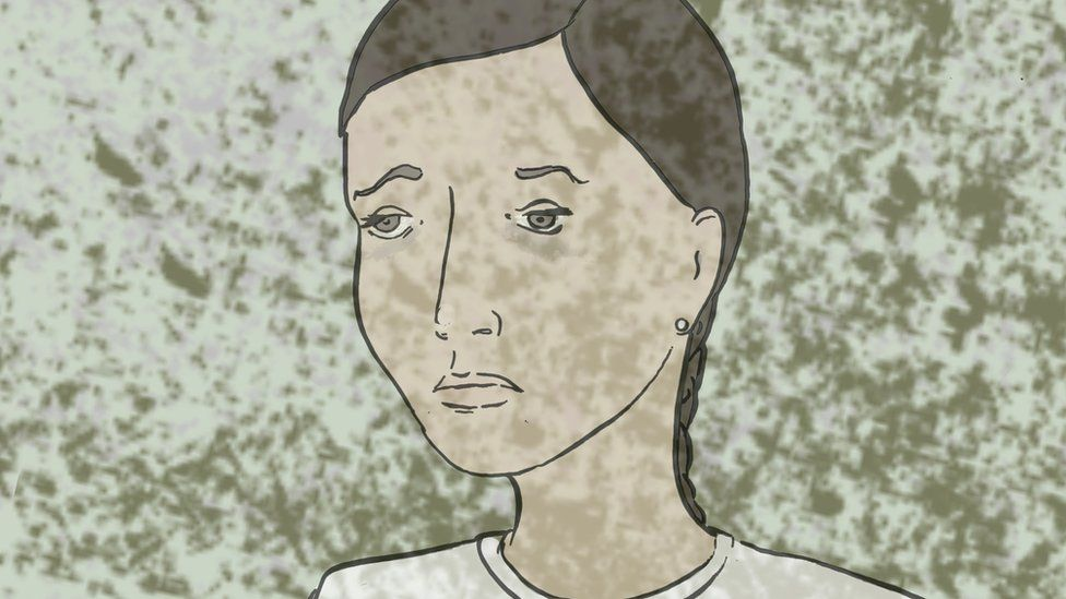 Illustration of a girl fading into the background