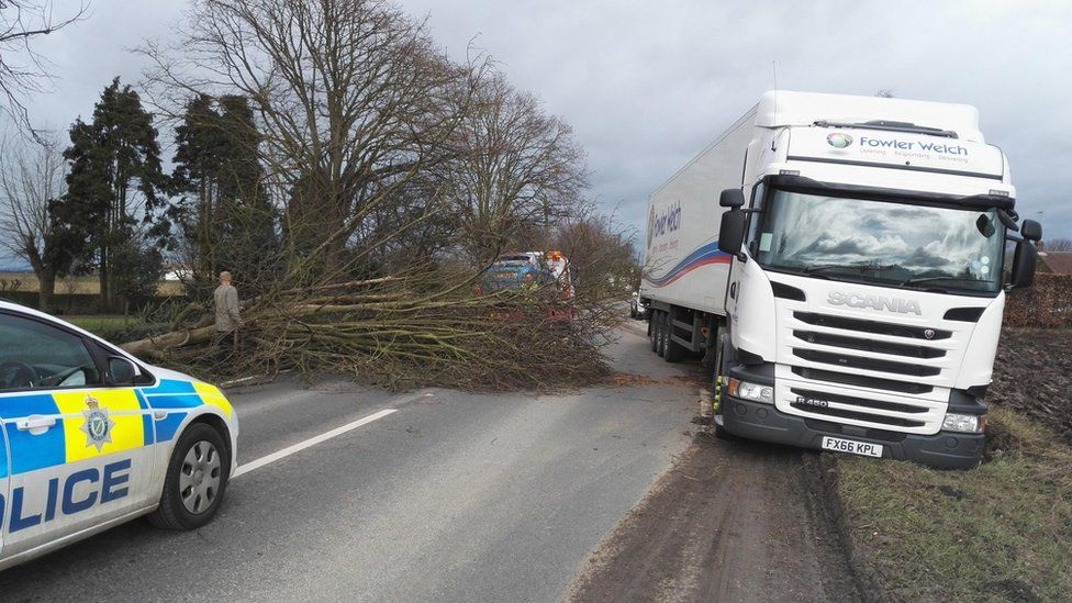 Lorry blocking A52 in Lincolnshire