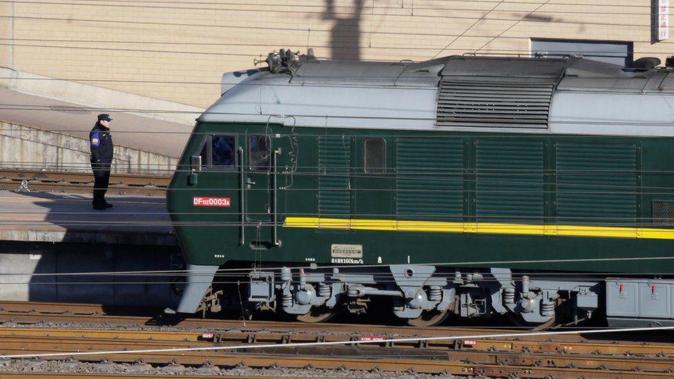 Train believed to be carrying North Korean leader Kim Jong Un arrives at Beijing Railway Station in Beijing