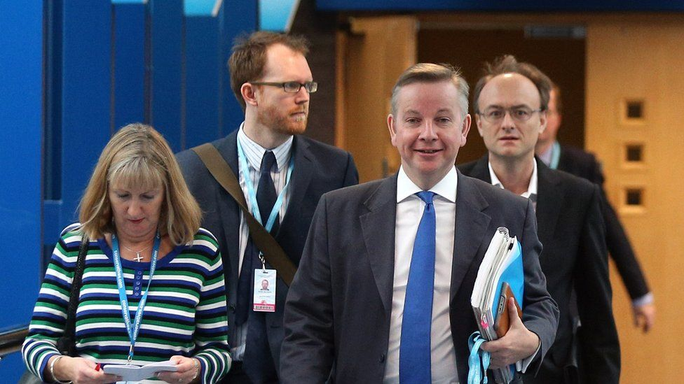 Dominic Cummings (behind Michael Gove's left shoulder) was the former Education Secretary's special adviser