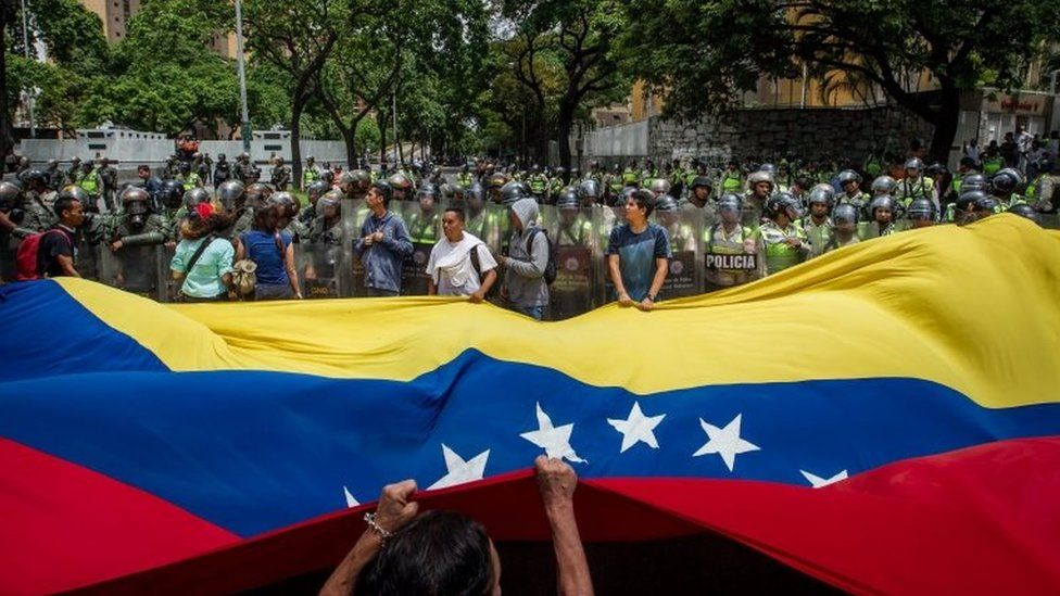 "Demonstrators participate in a rally against Venezuelan President Nicolas Maduro""s Government in Caracas, Venezuela, 18 May 2016."