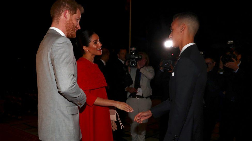 """Britain""""s Prince Harry and Meghan, Duchess of Sussex, meet Crown Prince Moulay Hassan"""