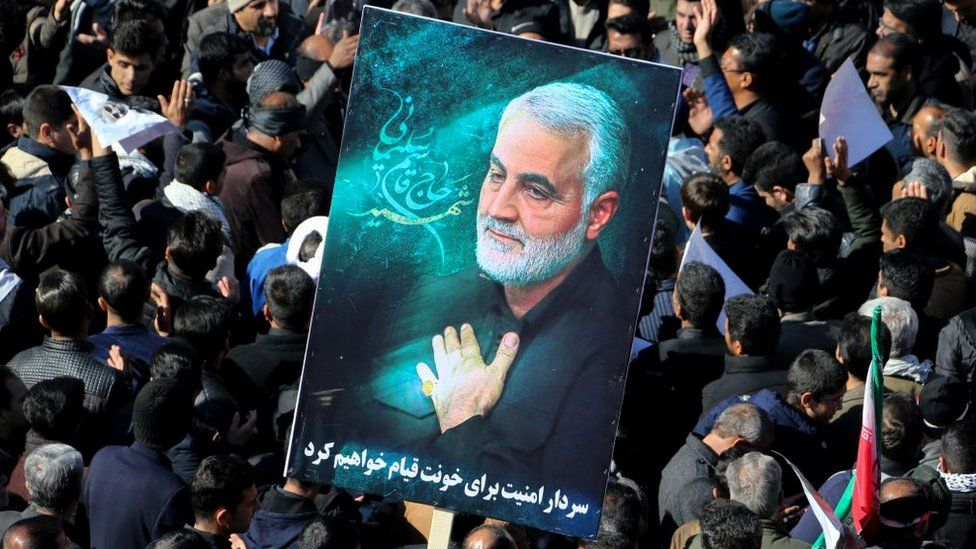 Iranian mourners gather during the final stage of funeral processions for top general Qasem Soleimani