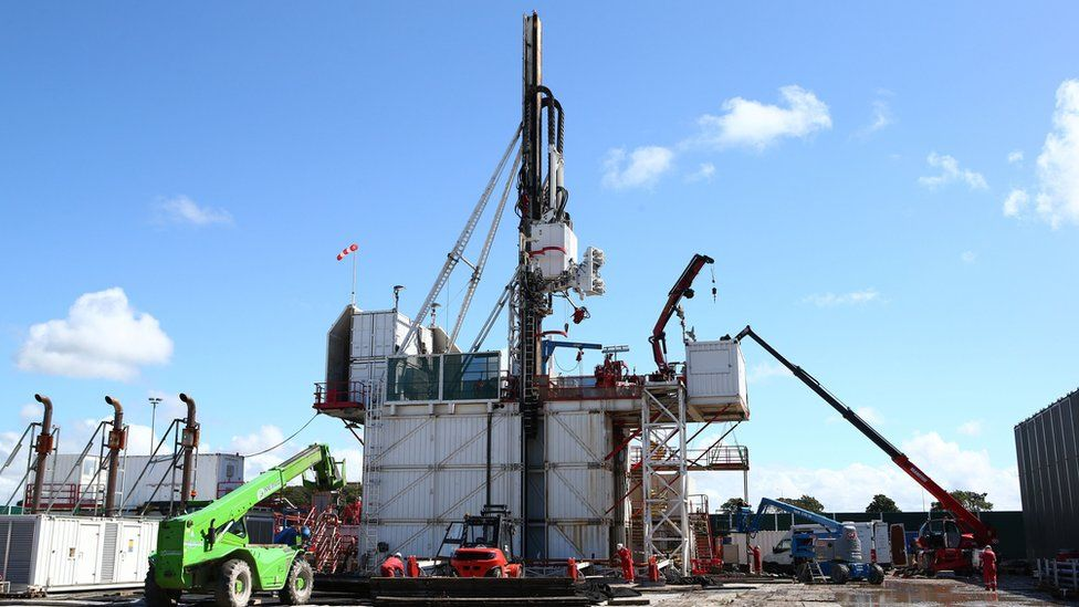 Handout file photo issued by Cuadrilla of the drilling rig at Preston New Road shale gas exploration site.