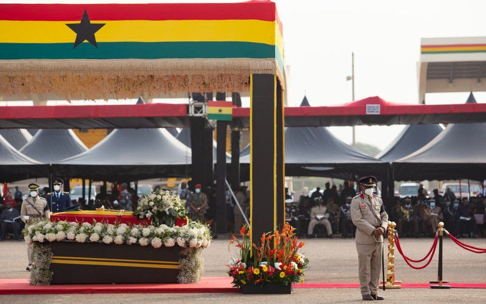 "The casket of former Ghana President Jerry John Rawlings is seen during his final funeral rites in Accra, Ghana, on January 27, 2021. - Former Ghana President Jerry John Rawlings died in November 2020 at the age of 73 and his funeral was initially scheduled for December 23, 2020 but was postponed, due to what the foreign ministry called ""unforeseen circumstances""."
