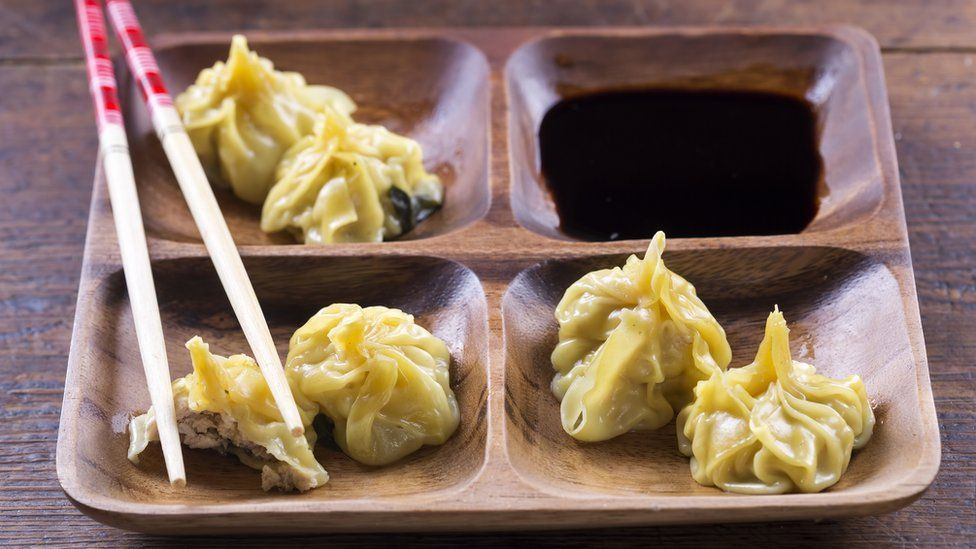 Chinese dumplings with soy sauce