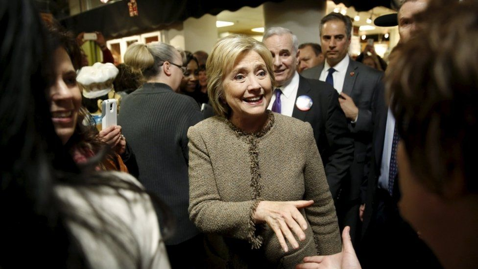 Hillary Clinton on the campaign trail in Minneapolis, 1 March