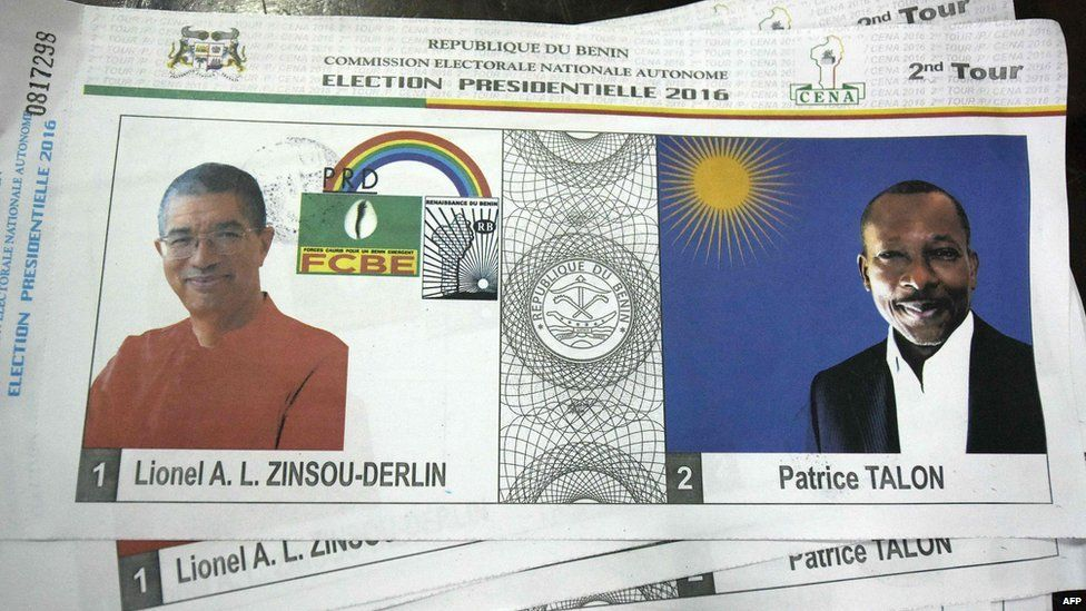 A picture taken in Cotonou on March 20, 2016 shows a ballot paper picturing two candidates 61-year-old Franco-Beninese banker and current Prime Minister Lionel Zinsou (L) and cotton magnate Patrice Talon (R) during the presidential elections in Cotonou, on March 20, 2016.