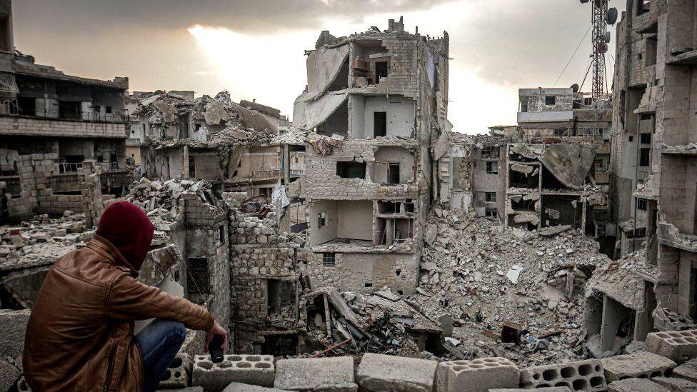 Scene of destruction in Idlib (file phto)