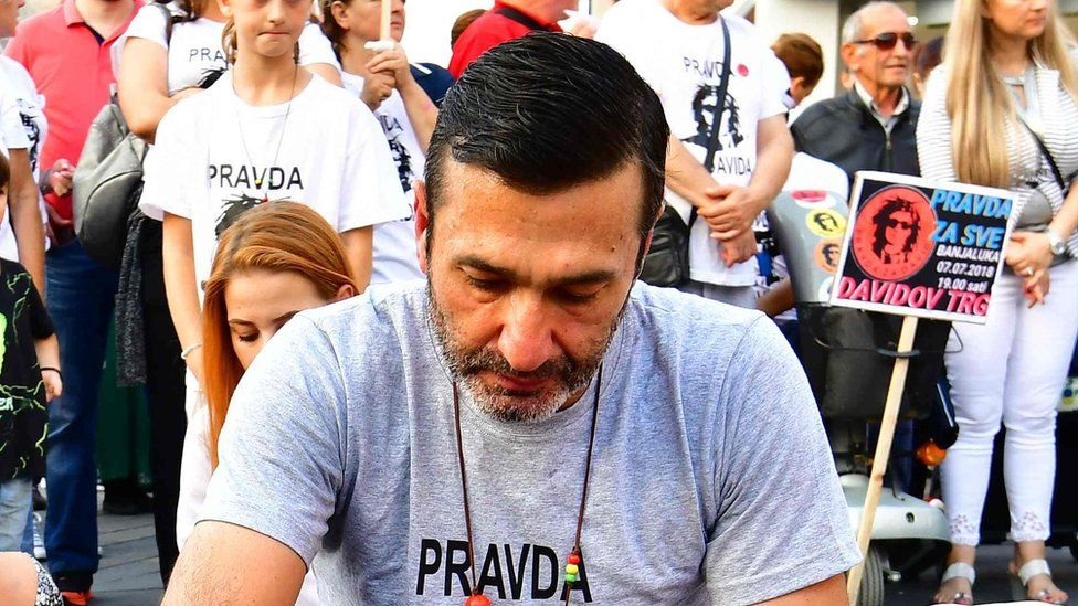 Davor Dragicevic, whose son died in unexplained circumstances last March, at a protest in Banja Luka (file photo - July 2018)