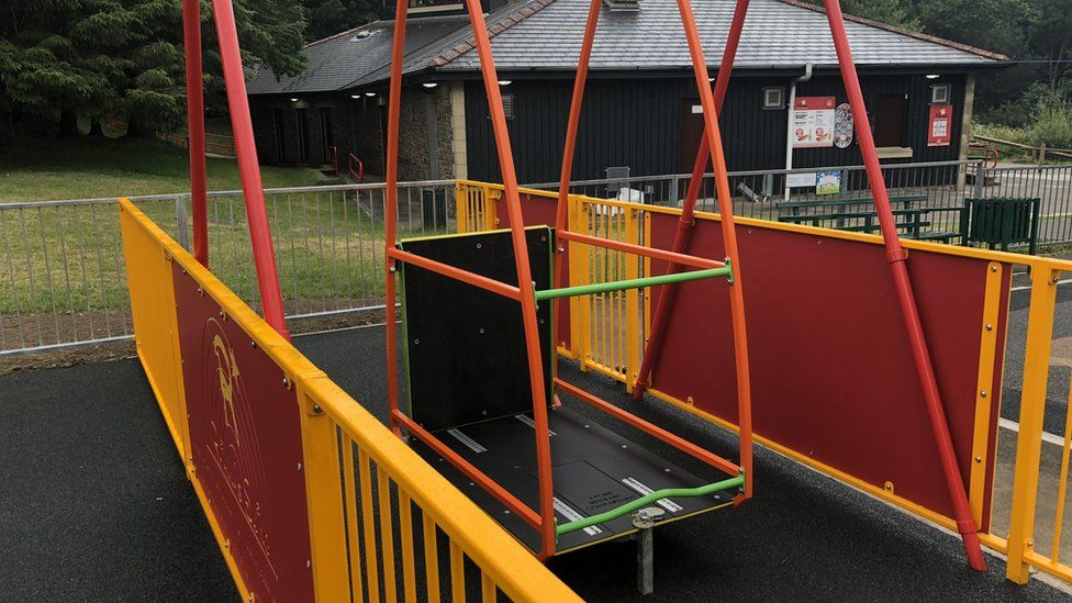 The disabled access swing in the new park