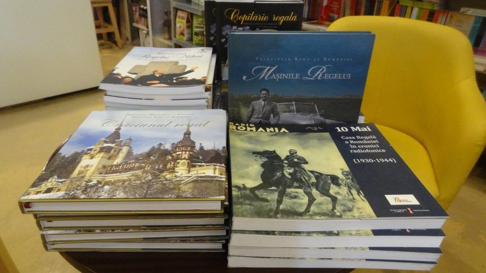 Books about King Michael at a bookshop in Bucharest