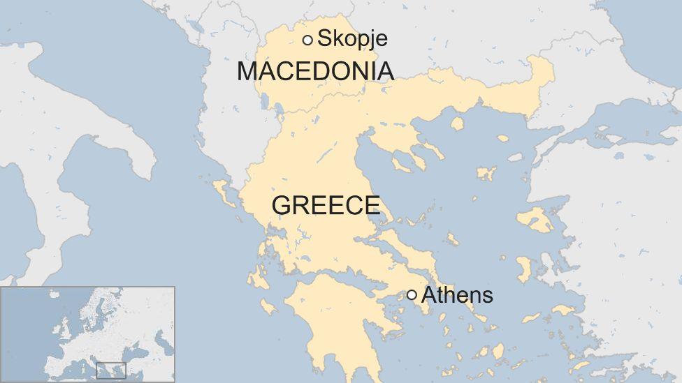 Map of Greece and Macedonia