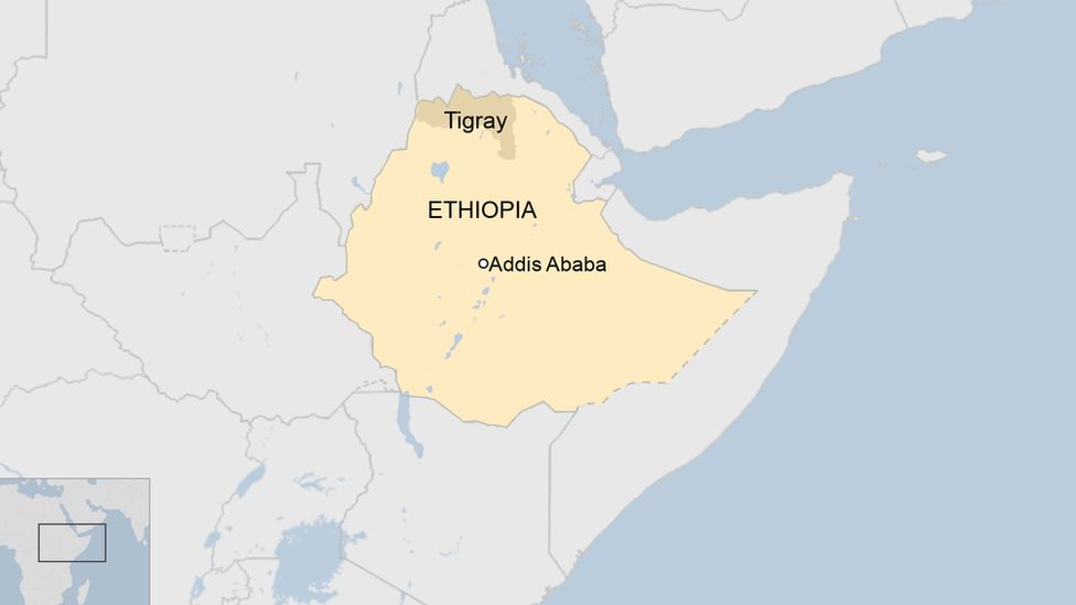 A map of Ethiopia showing the capital, Addis Ababa, and the northern Tigray region.
