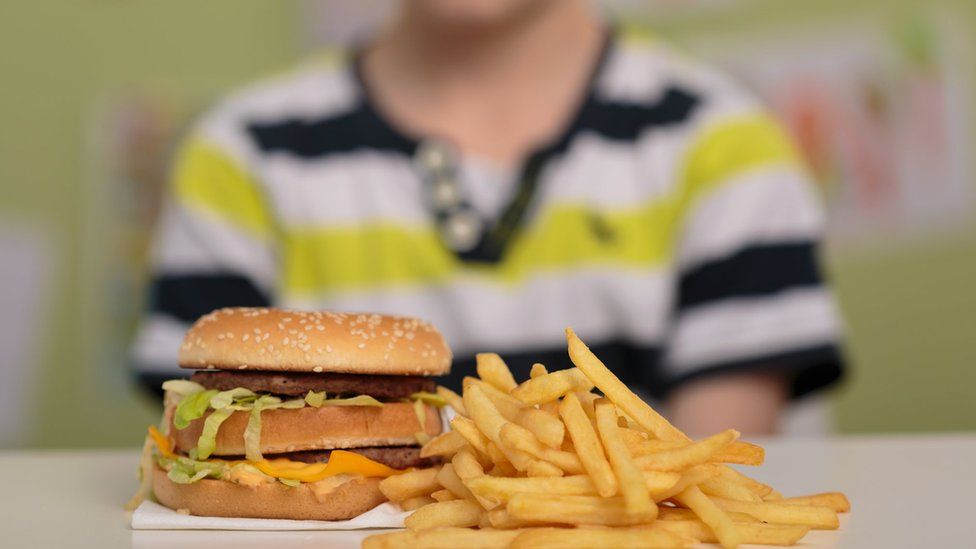 Schoolchild with burger and chips