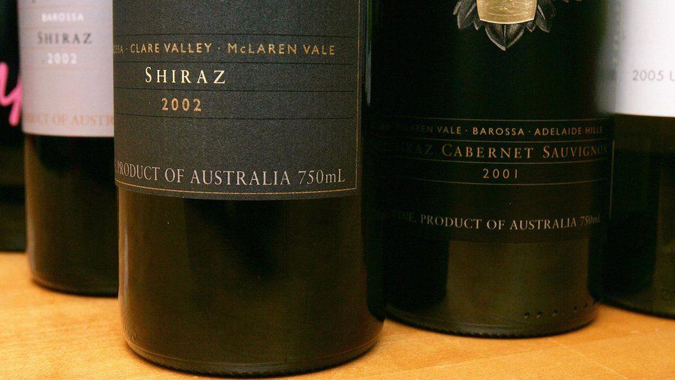 Bottles of Australian wine