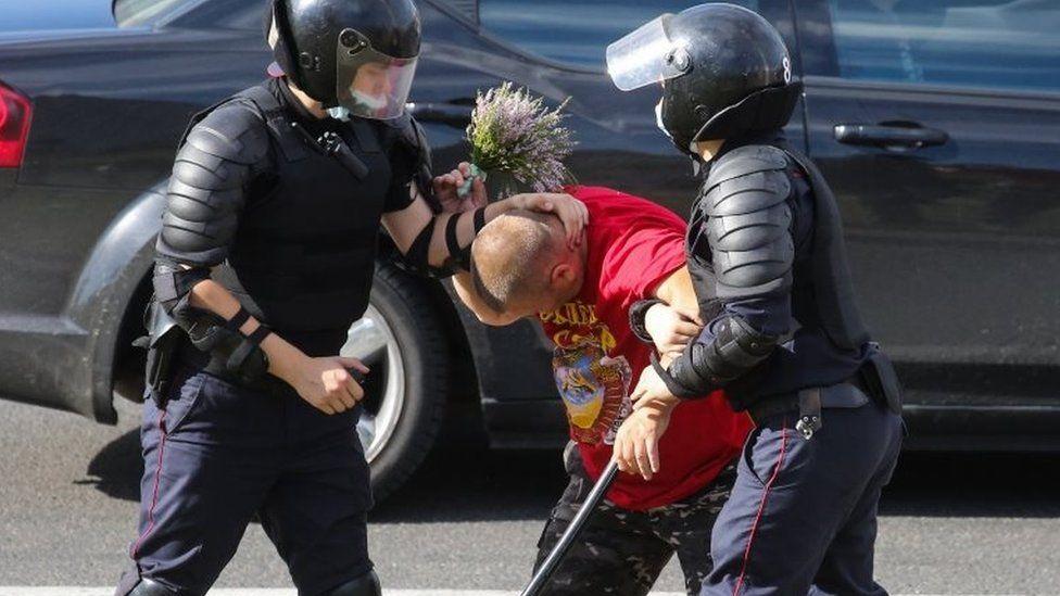 Police detain a man in Minsk, Belarus. Photo: 12 August 2020